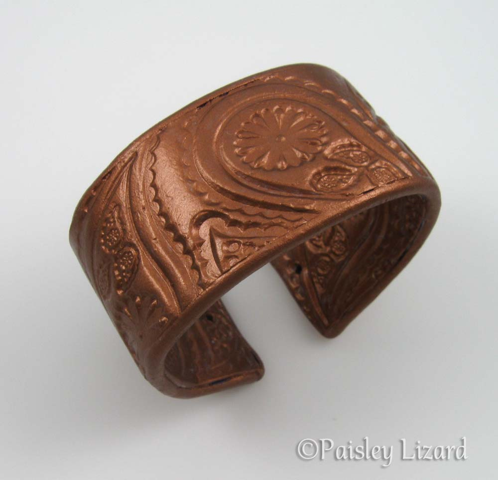 paisley cuff with copper metal coating