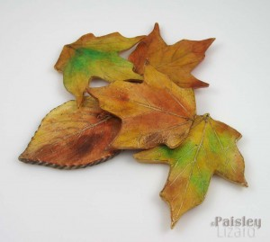 Pile of fall leaf pendants