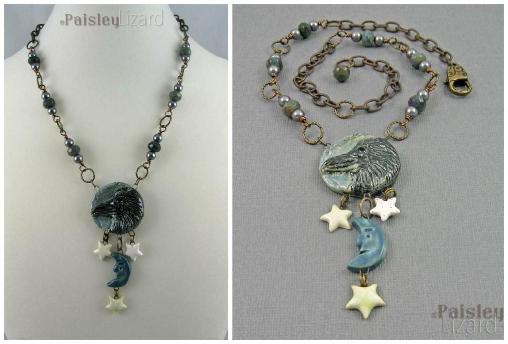 Moon and Stars Raven Necklace