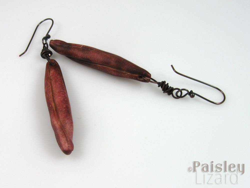Chili red seed pod earrings