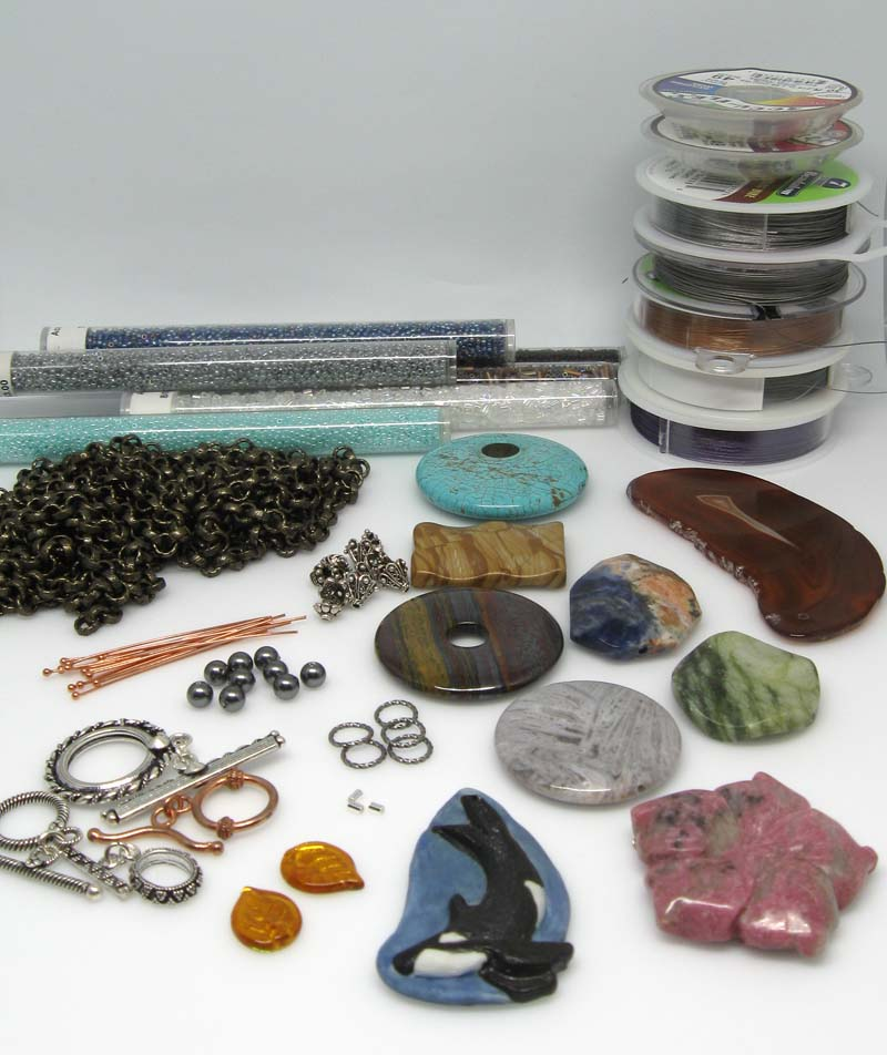 assorted jewelry making supplies