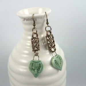 chainmaille leaf earrings