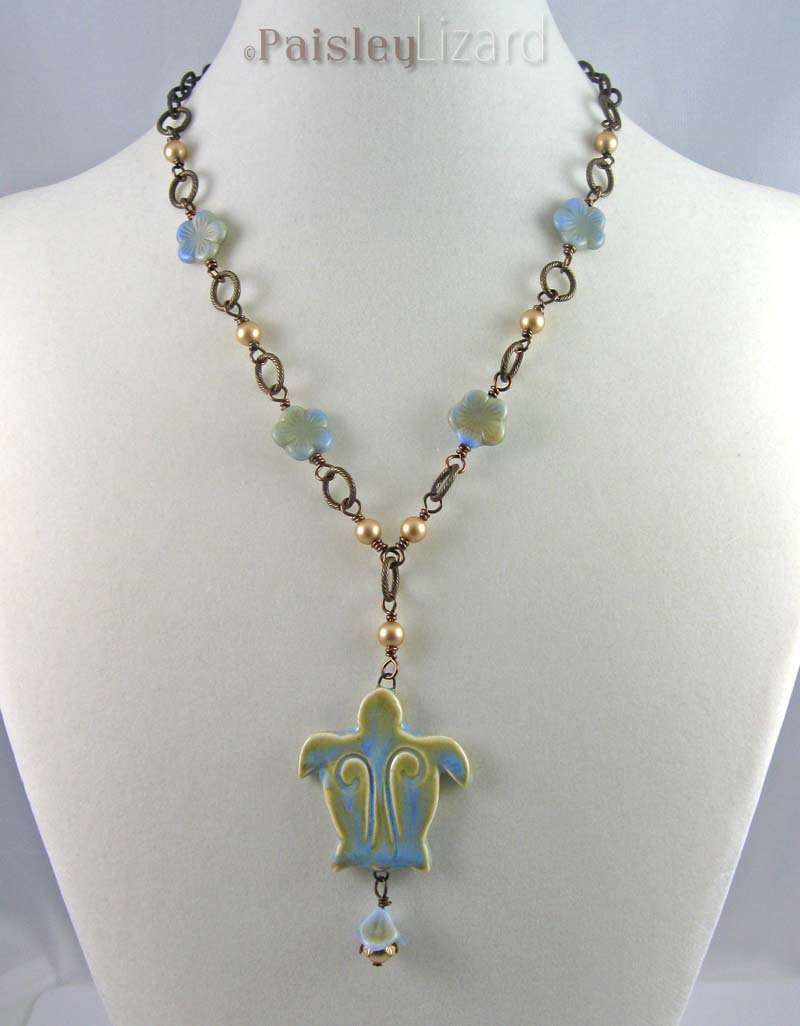Blue-green turtle necklace