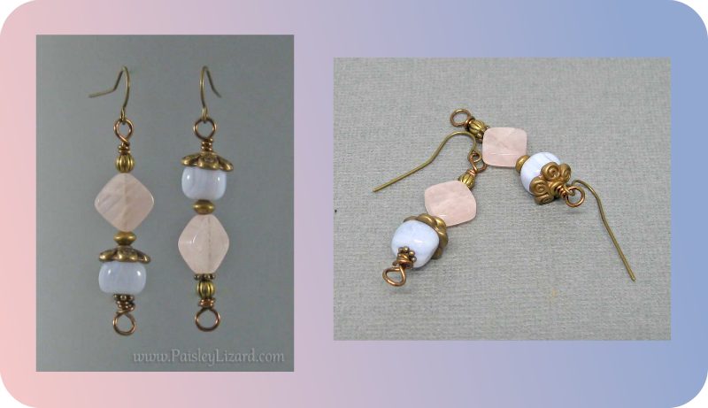 Pink Blue gemstone dangle earrings