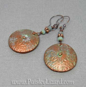 copper flowers earring flat