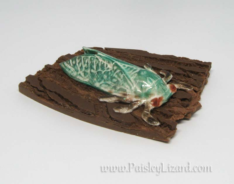 cicada on tree bark brooch
