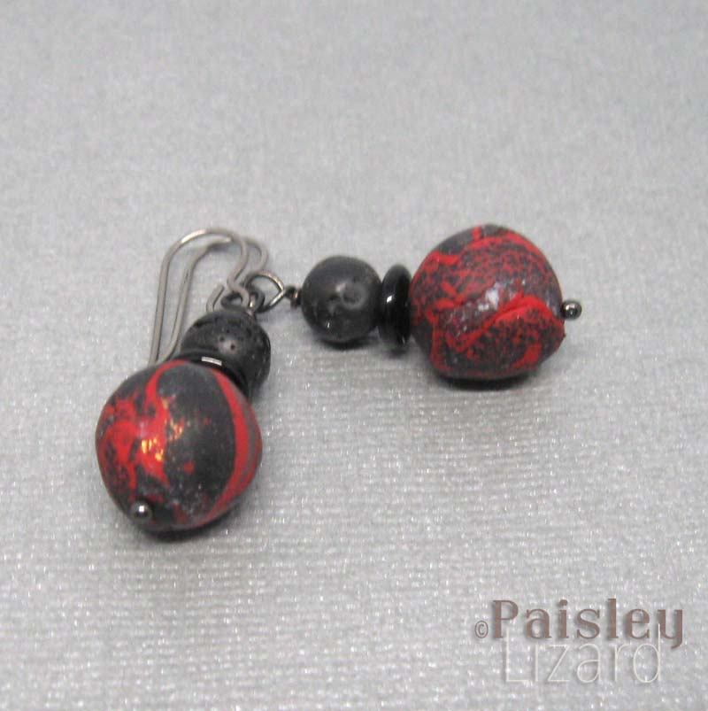 lava rocks drop earrings