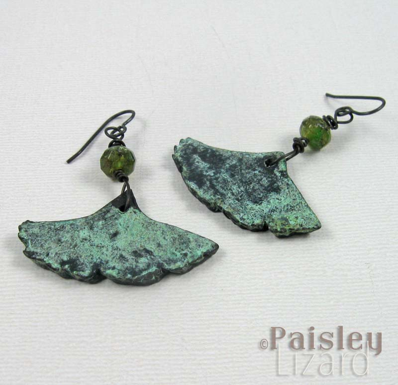 Bronze patina ginkgo leaf earrings