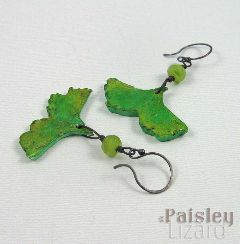 Green ginkgo leaf earrings