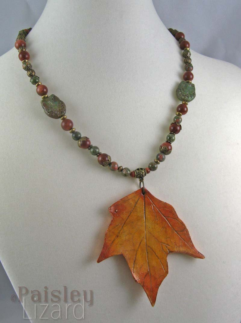 Yellow maple leaf pendant necklace