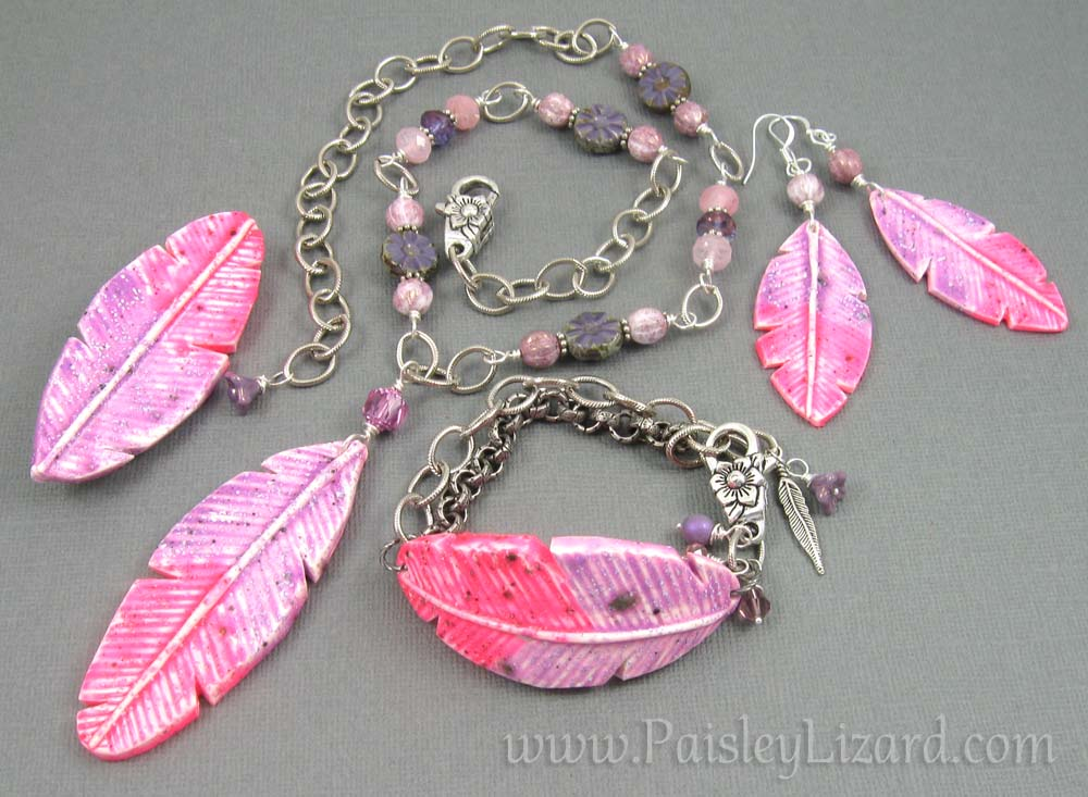 amethyst starling feather jewelry set