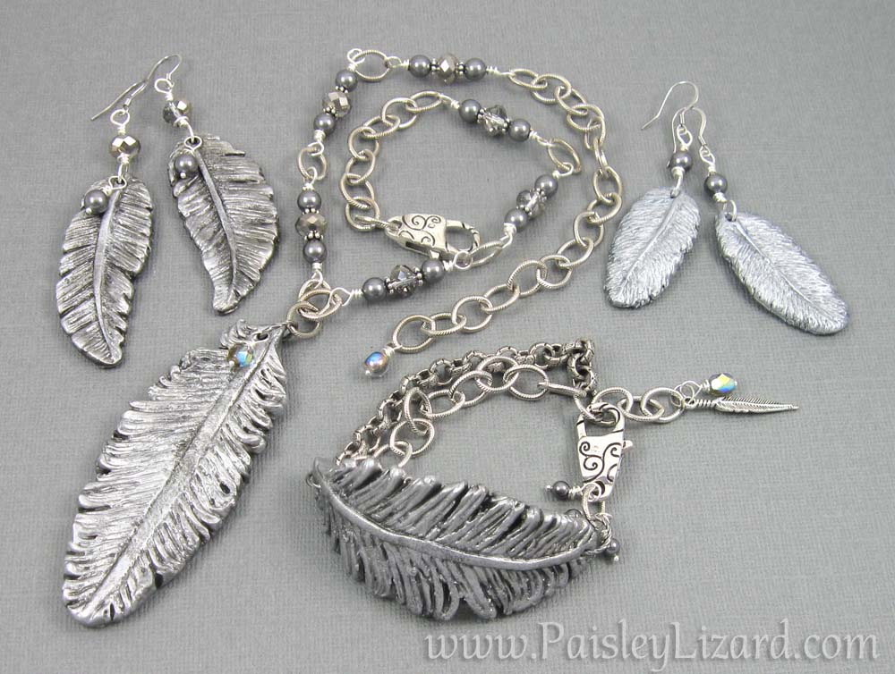 silver feather jewelry collection