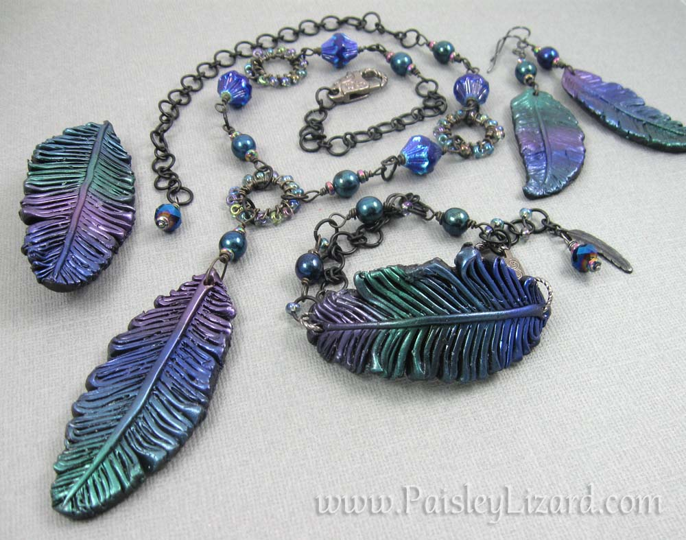 jewel tones feather jewelry set