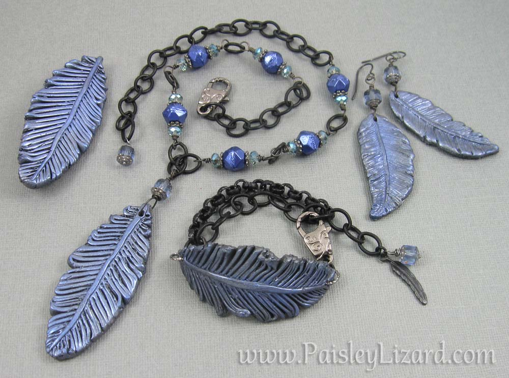 raven feather jewelry set