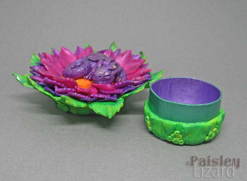 Purple dragon in flower jewelry box