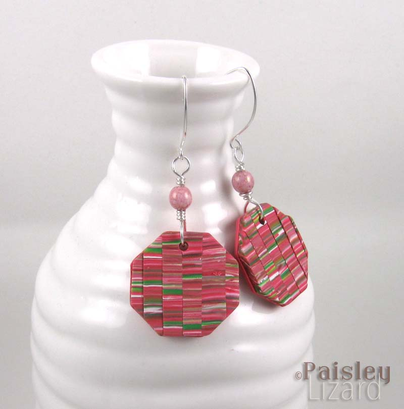 cherry blossom patchwork earrings