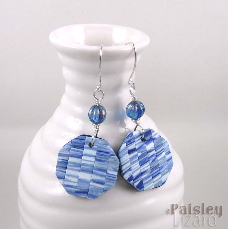 faded denim patchwork earrings