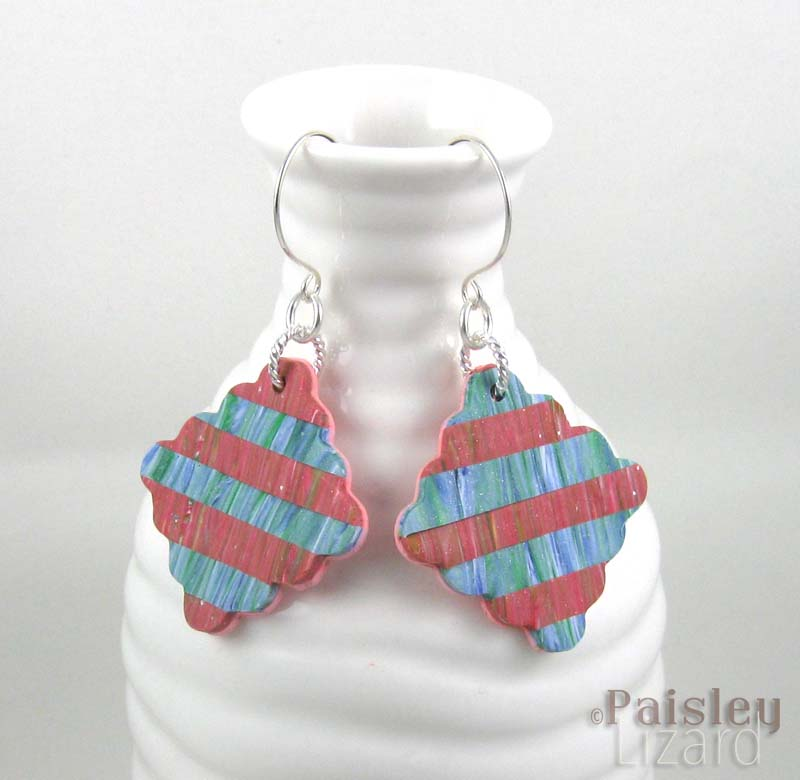 Pink Blue patchwork earrings