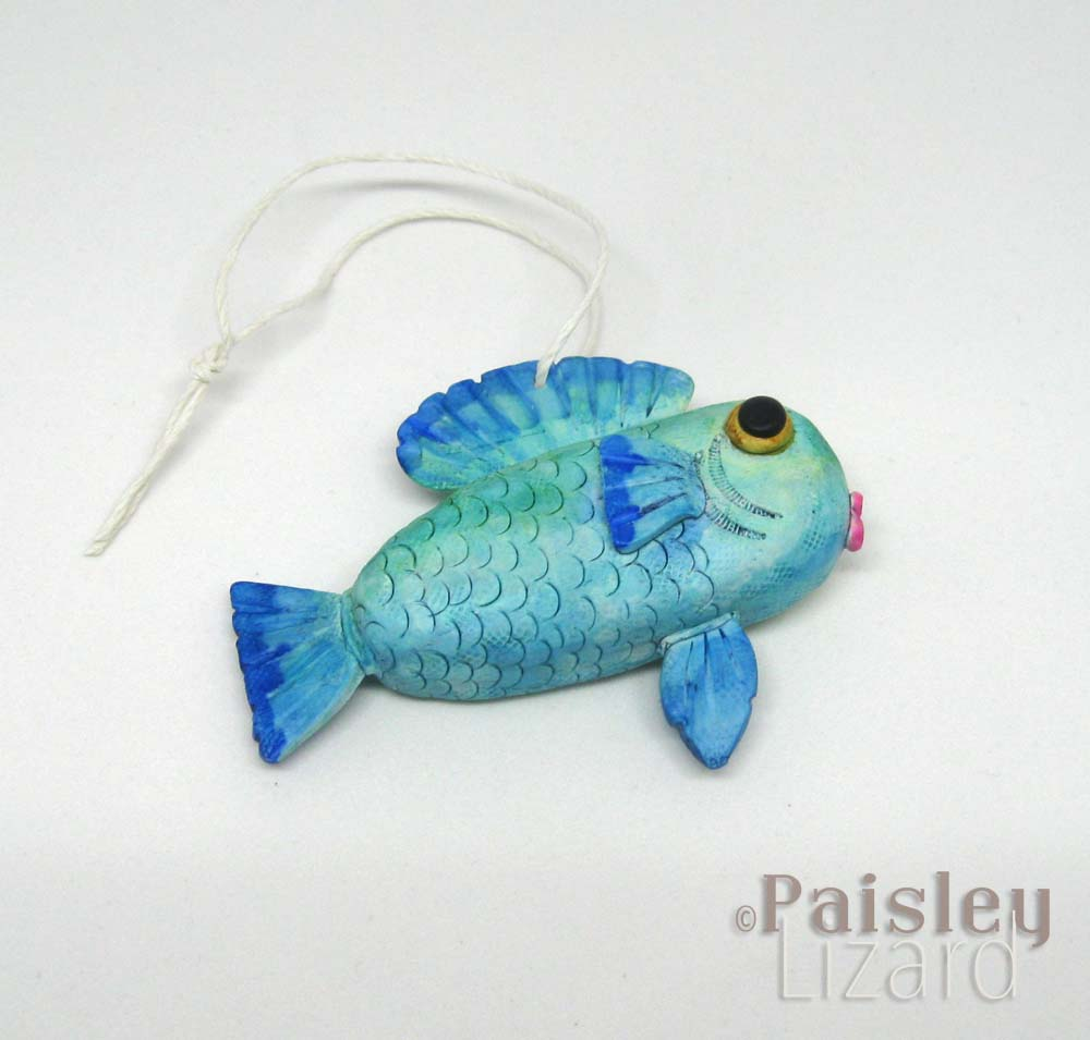 Blue green ombre fish ornament