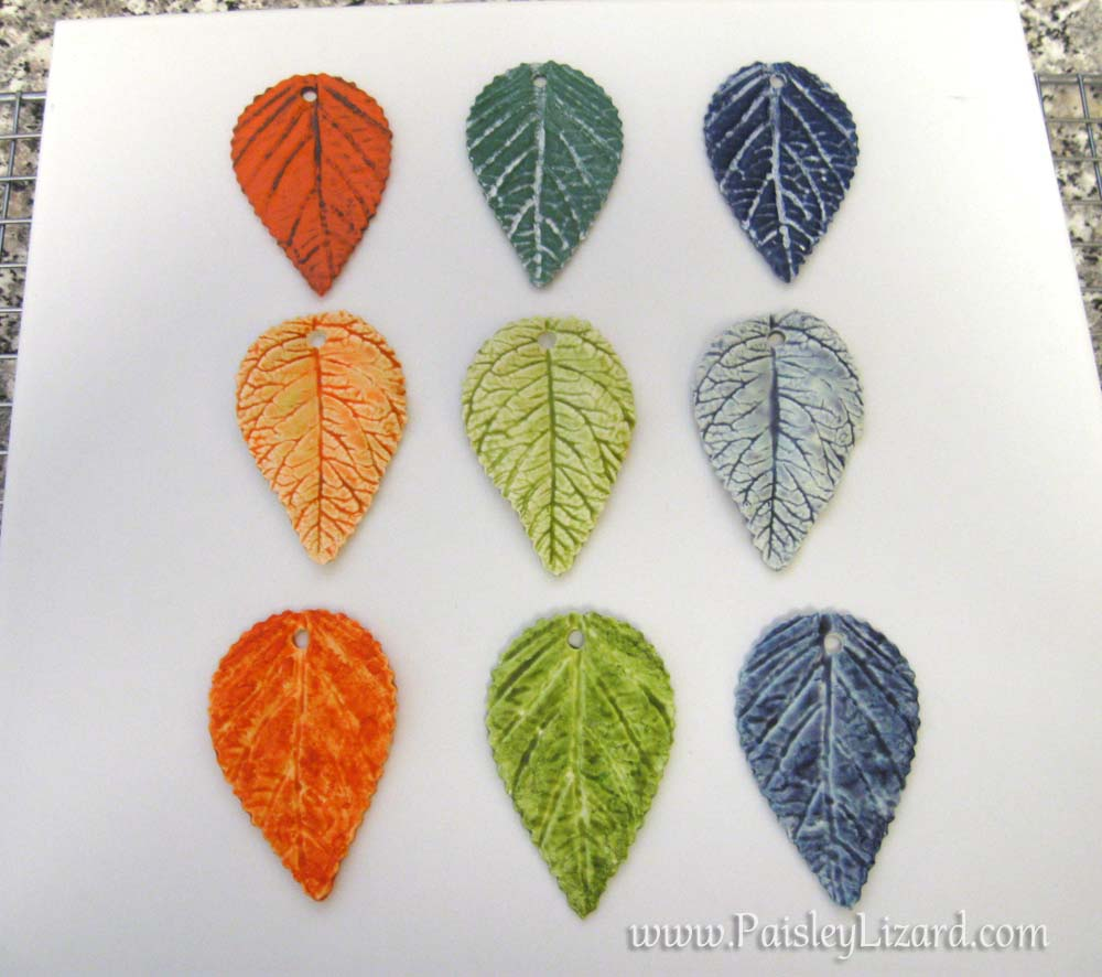 polymer clay leaves with various faux finishes