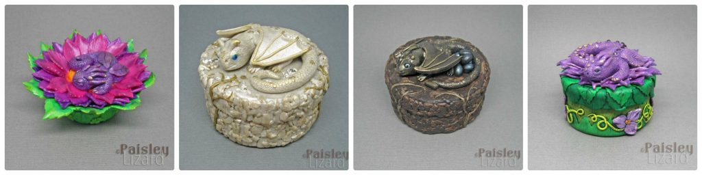 collage of four trinket boxes with dragons on the lids