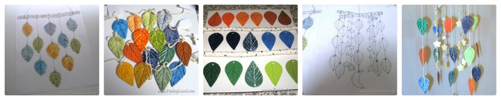 collage of leaf mobile design process from sketch to final design
