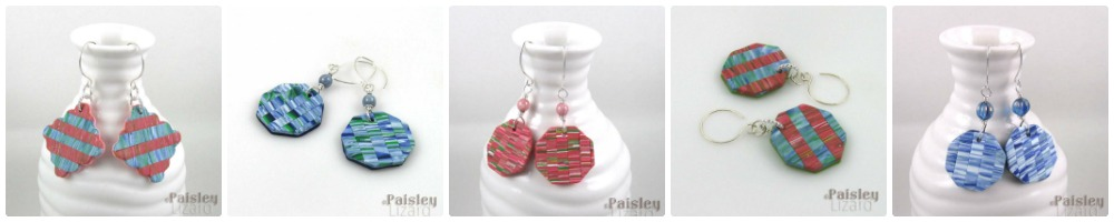 collage of five pair of patchwork earrings