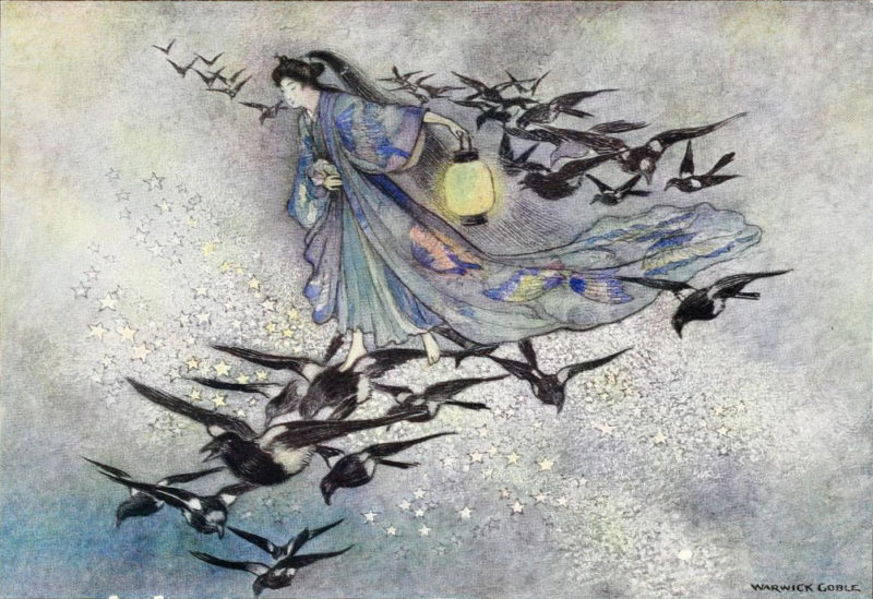 Star Lovers watercolor by Warwick Goble