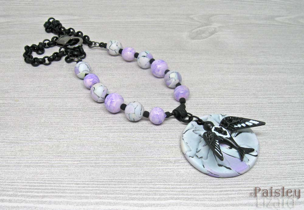 blackbird watercolor pendant necklace
