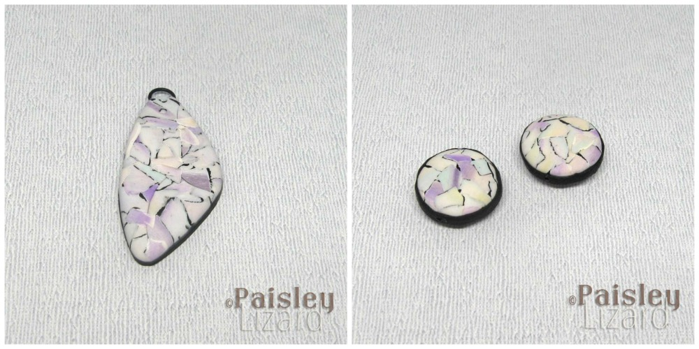 watercolor pendant and hollow coin beads