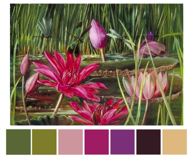 Marianne North watercolor with color palette