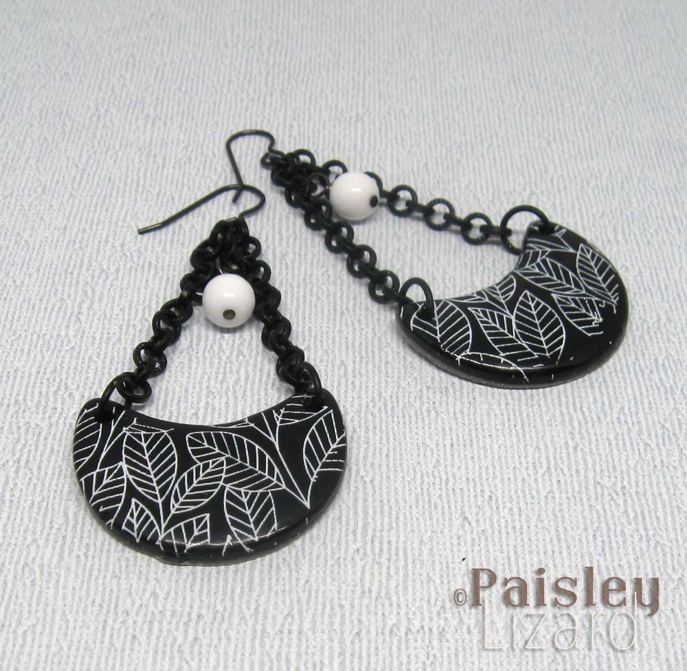Black and white trapeze earrings