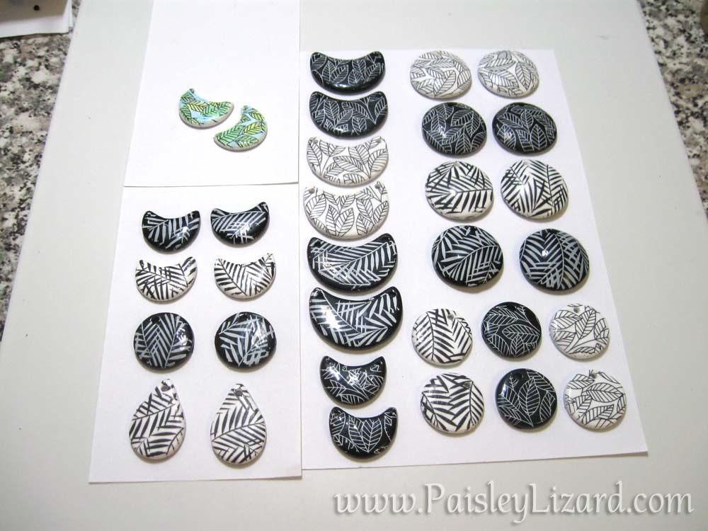 Black and white leaf print earring components.