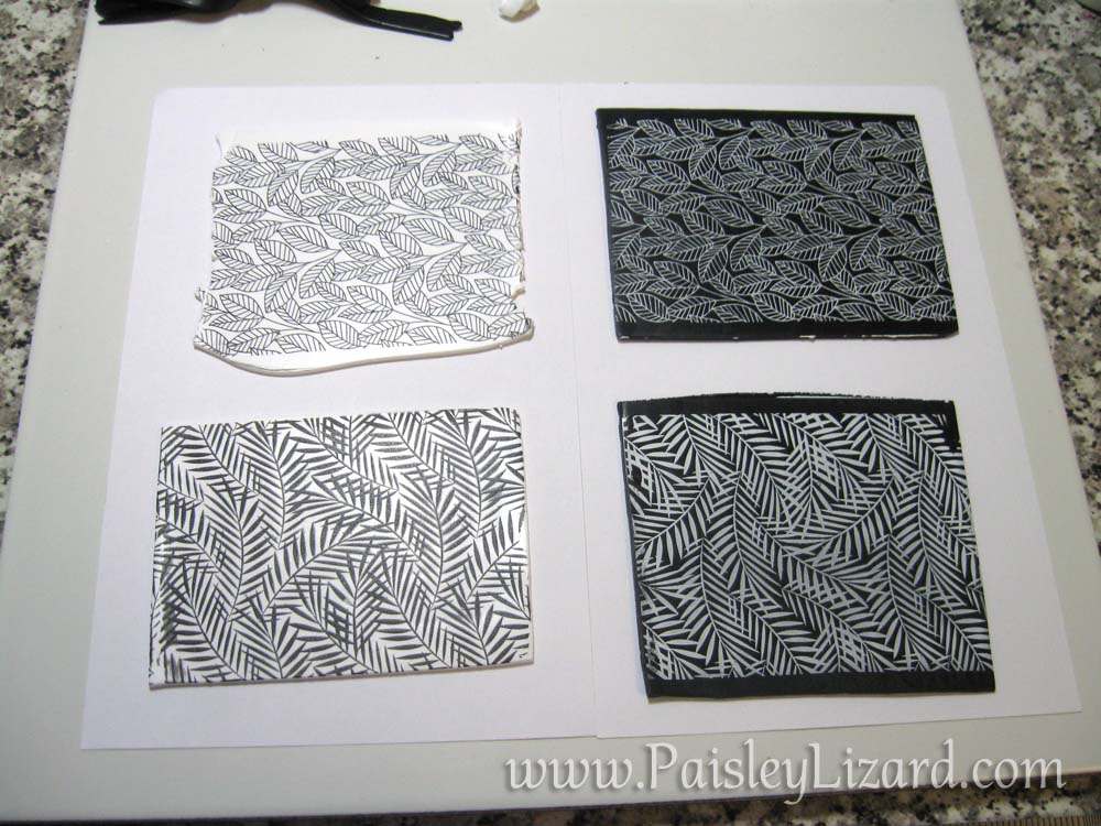 Sheets of black and white clay with silkscreened prints